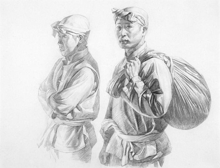 Zhi lin two onlookers study for drawing and quartering
